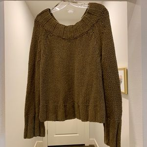 Free People army green cable knit sweater